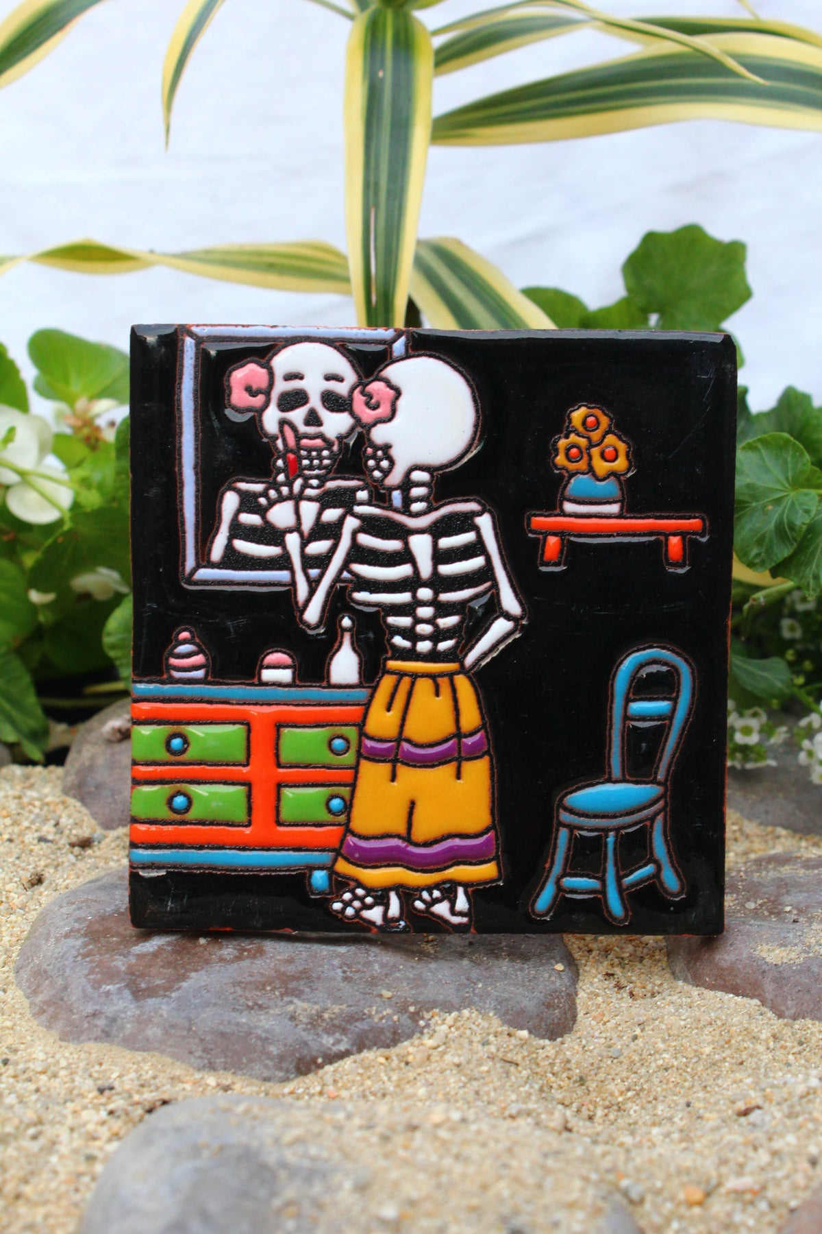 Image of Skeleton mirror Coaster Tile