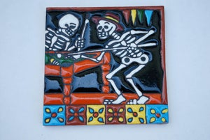 Image of Skeletons Playing Pool Coaster Tile