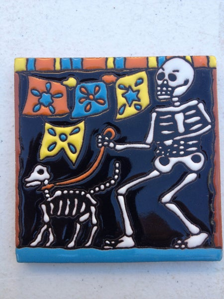 Image of Walking the Dog Coaster Tile
