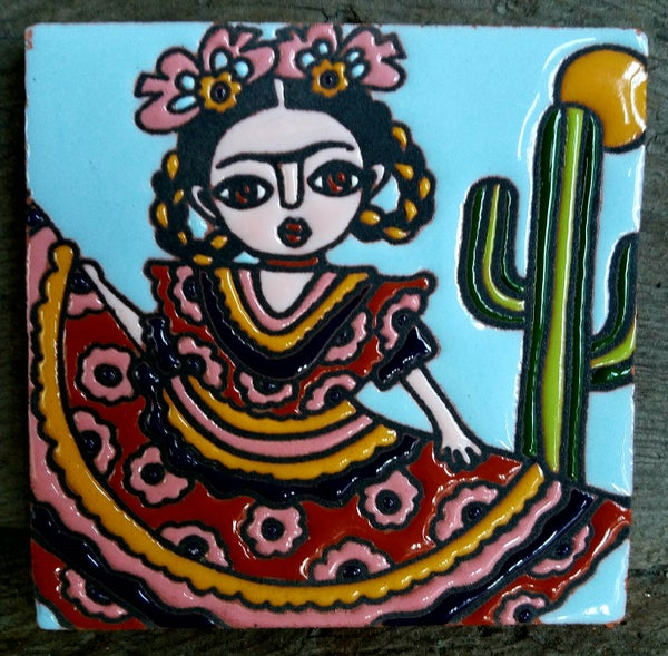 Image of Mini Frida Folklorico Coaster Tile