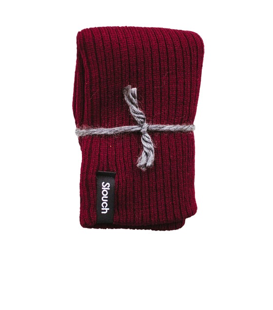 Image of Burgundy Ribbed Knit Slouch Beanie
