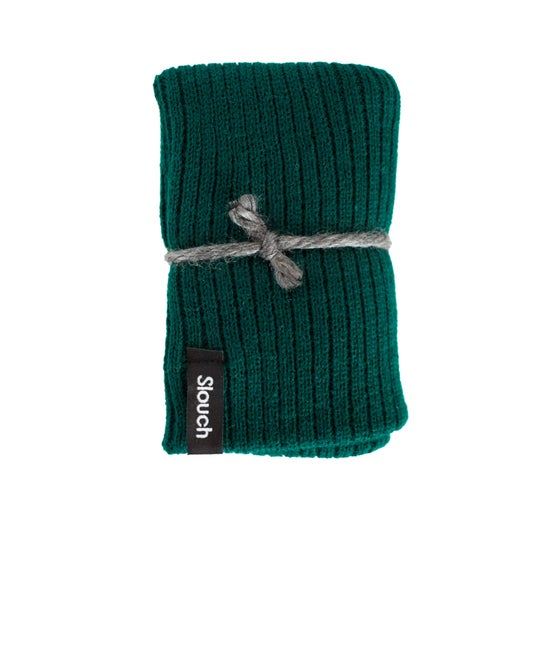 Image of Green Ribbed Knit Slouch Beanie