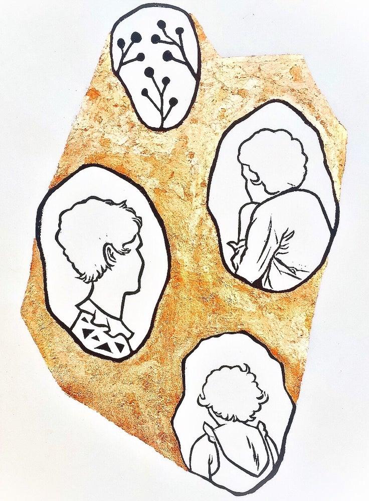 "Image of ""Memory"" - Original Linocut Print with Copper Leaf"