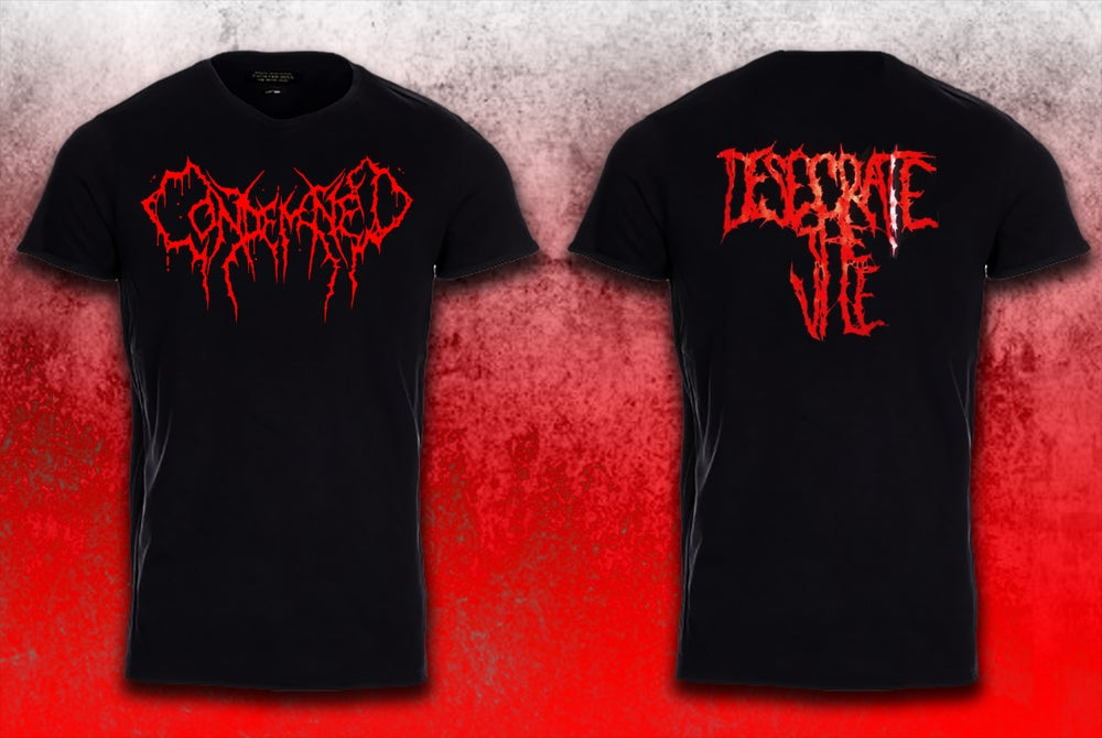 Image of Red Logo Desecrate the Vile shirts