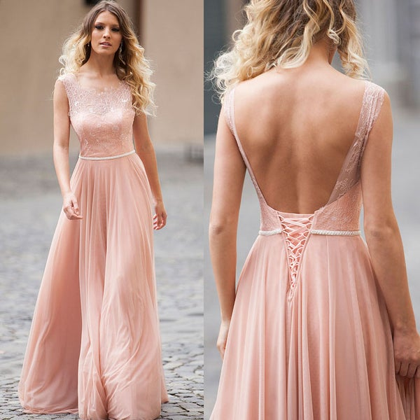 Image of Nude Sheer Illusion Lace Bodice Long Prom Gown,Tulle A-Line Prom Dress With Lace-Up Open Back
