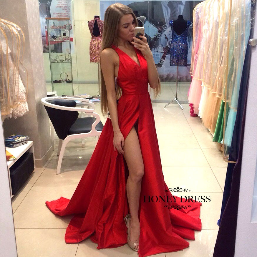 Image of New Arrival Red Satin V Neck A Line Prom Gown With Slit