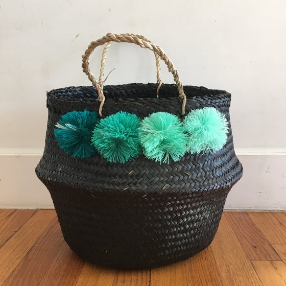 Image of venice basket - medium black with shades of turquoise poms