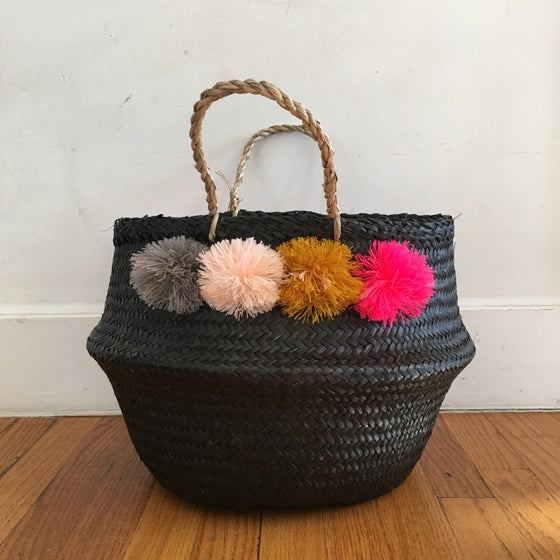 Image of venice basket -- medium black with pink, gold and grey poms