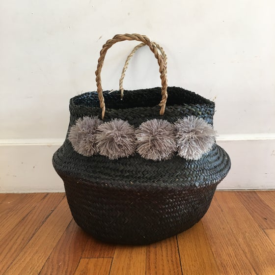 Image of venice basket medium -black with grey pom poms