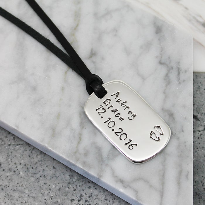 Image of Personalised sterling silver dog tag pendant