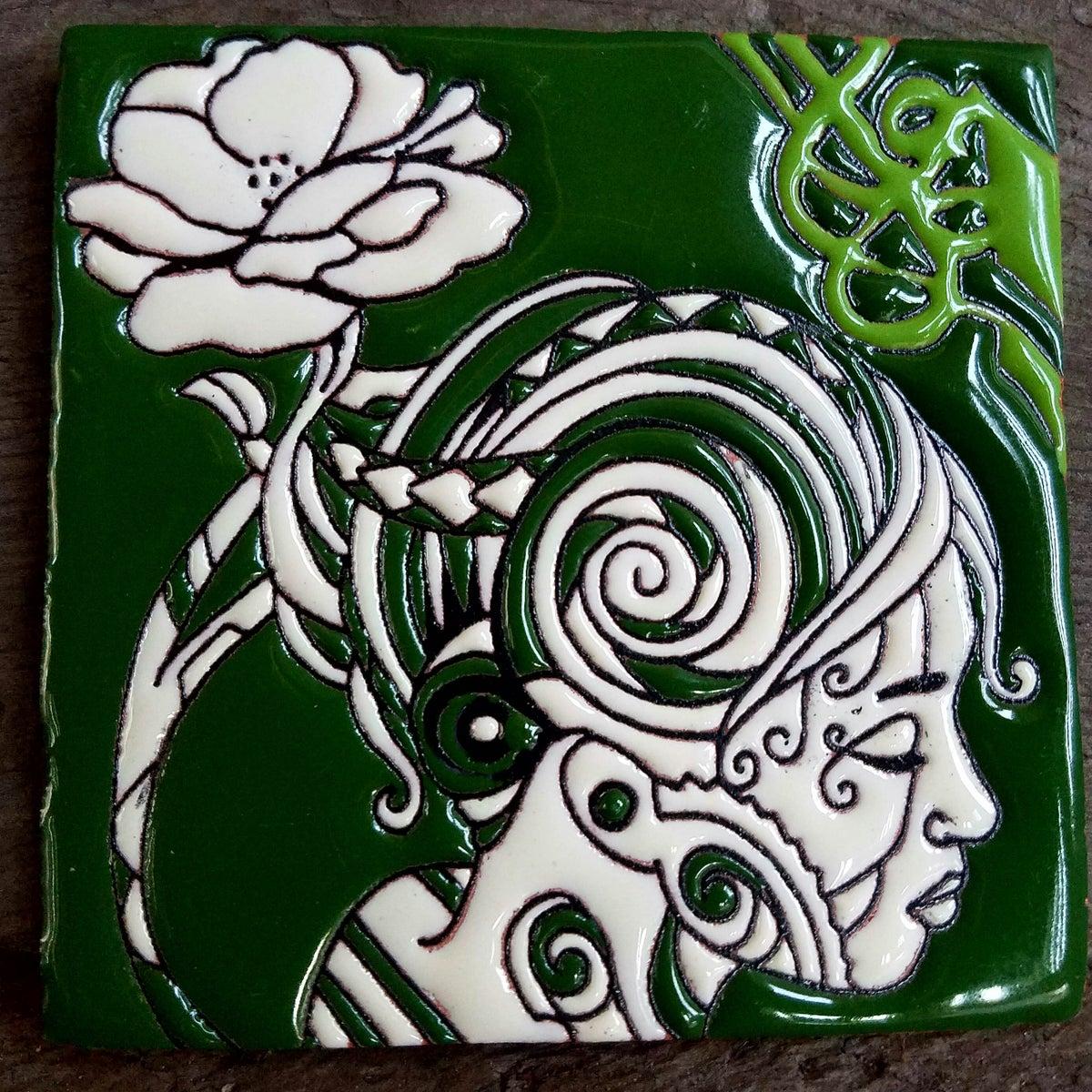 Image of Flower Goddess Coaster Tile