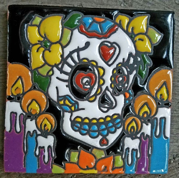 Image of Calavera Velas Coaster Tile