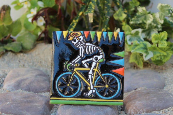 Image of Skeleton on Bicycle