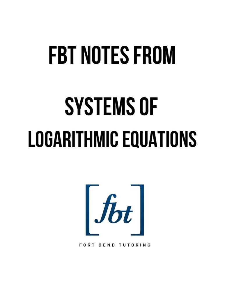 Image of Systems of Logarithmic Equations YouTube Notes