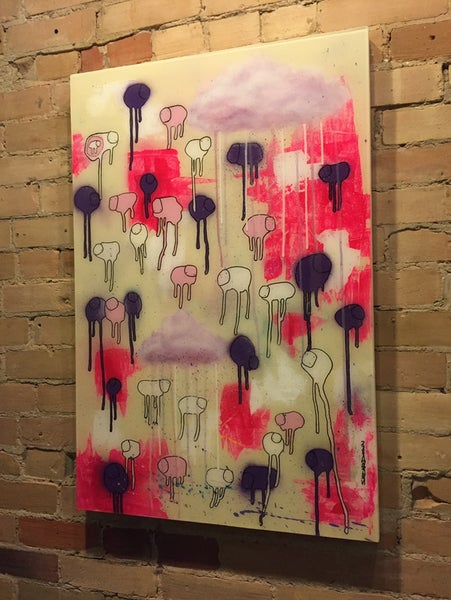 "Image of Raining Cows, ""PURPLE POPCORN"" 24""X36"""