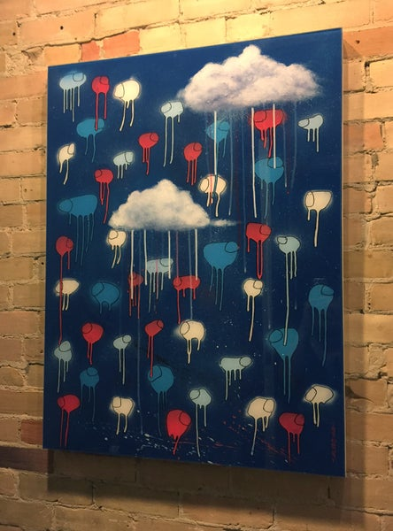 "Image of Raining Cows ""2AM BLUES"" 30""X40"""
