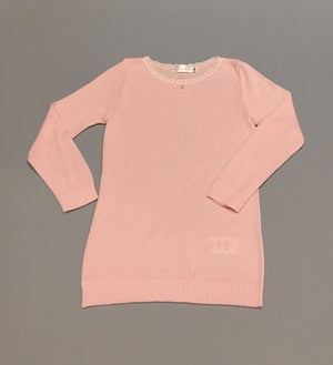 Image of GIRLS HEARTS CREW LS White, Pink, Heather Grey