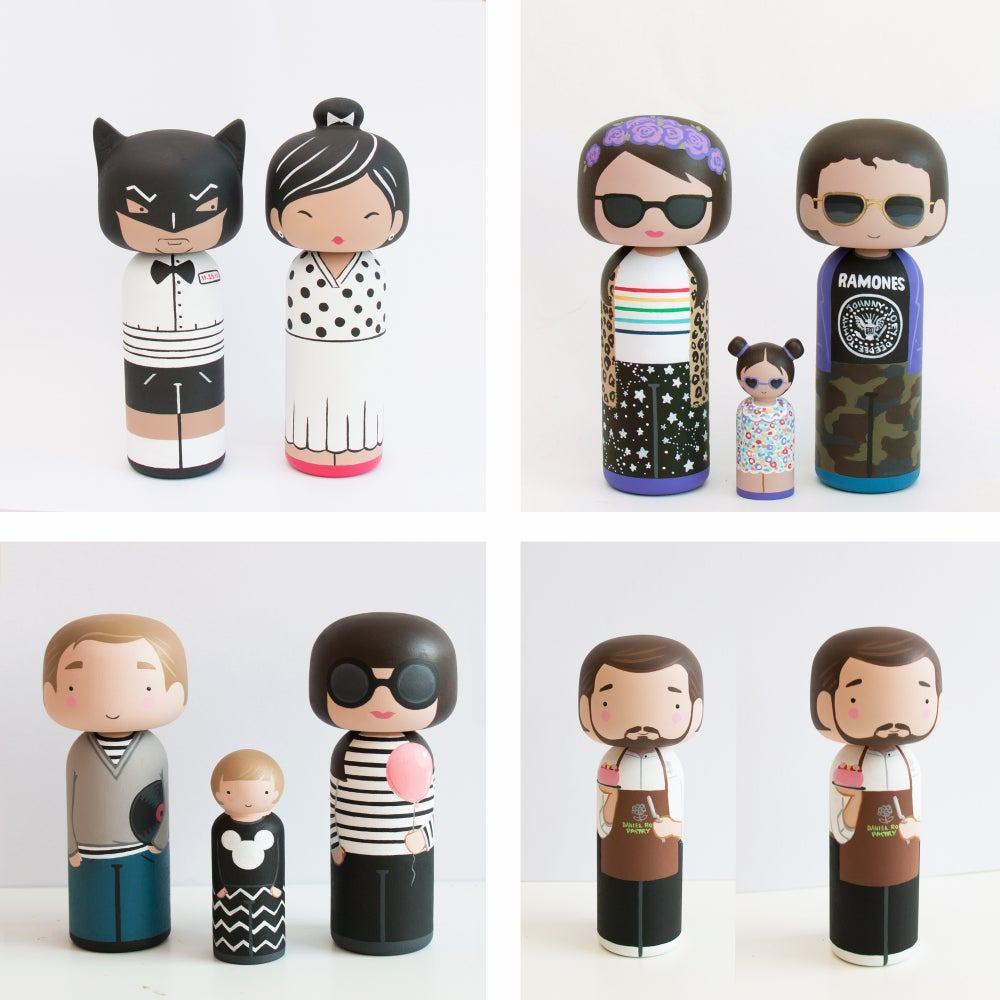 Image of CUSTOM KOKESHI FAMILY (3 DOLLS)