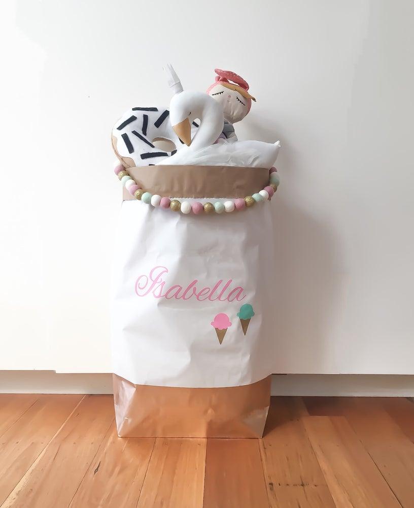 Image of Icecream detail monogram paper storage sack