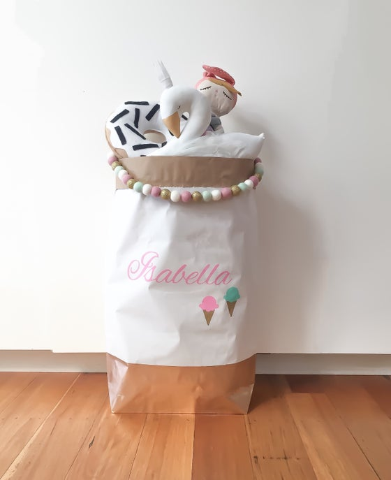 Image of Icecream detail monogram paper storage sack