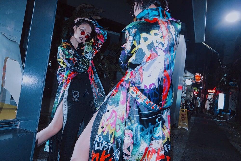 Image of DVMVGE TOKYO X' TYO X Satin Trench