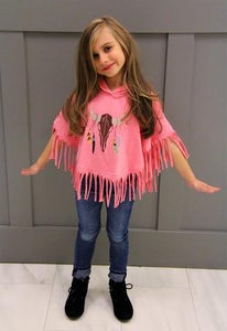 Image of Native American Cow Skull Poncho in Pink, baby, toddler, girl, Holidays, photos