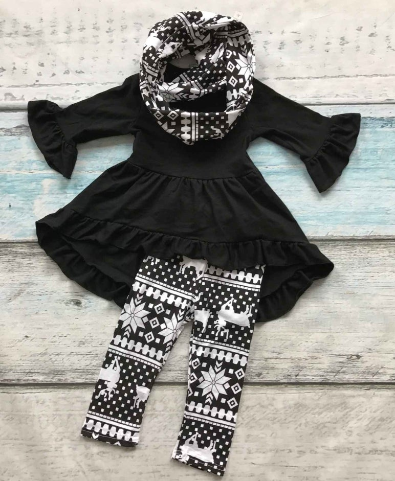 Image of Black Tunic Top with matching leggings and scarf set, baby, toddler, girl