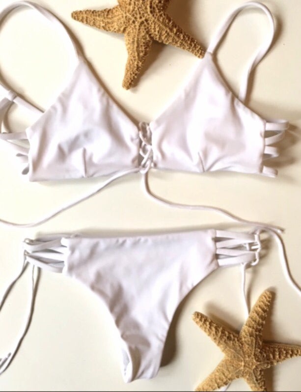 Image of Bralette halter top with lace up cheeky bottoms