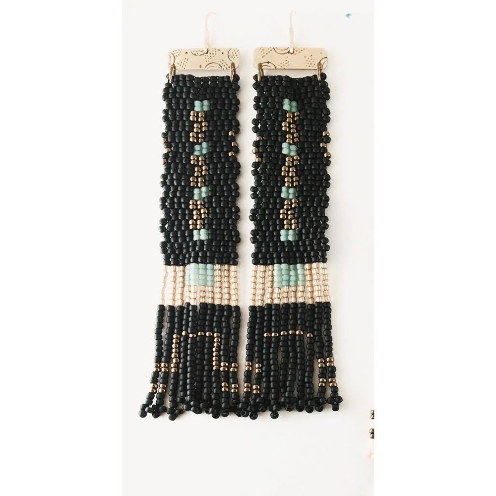 Image of Bronze and Black Panel Earrings Short