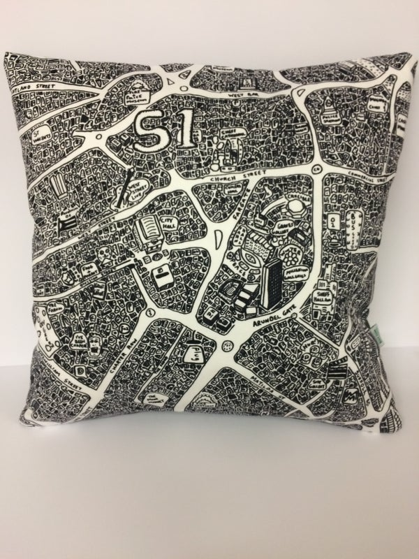 Image of Sheffield Doodle Map Cushions