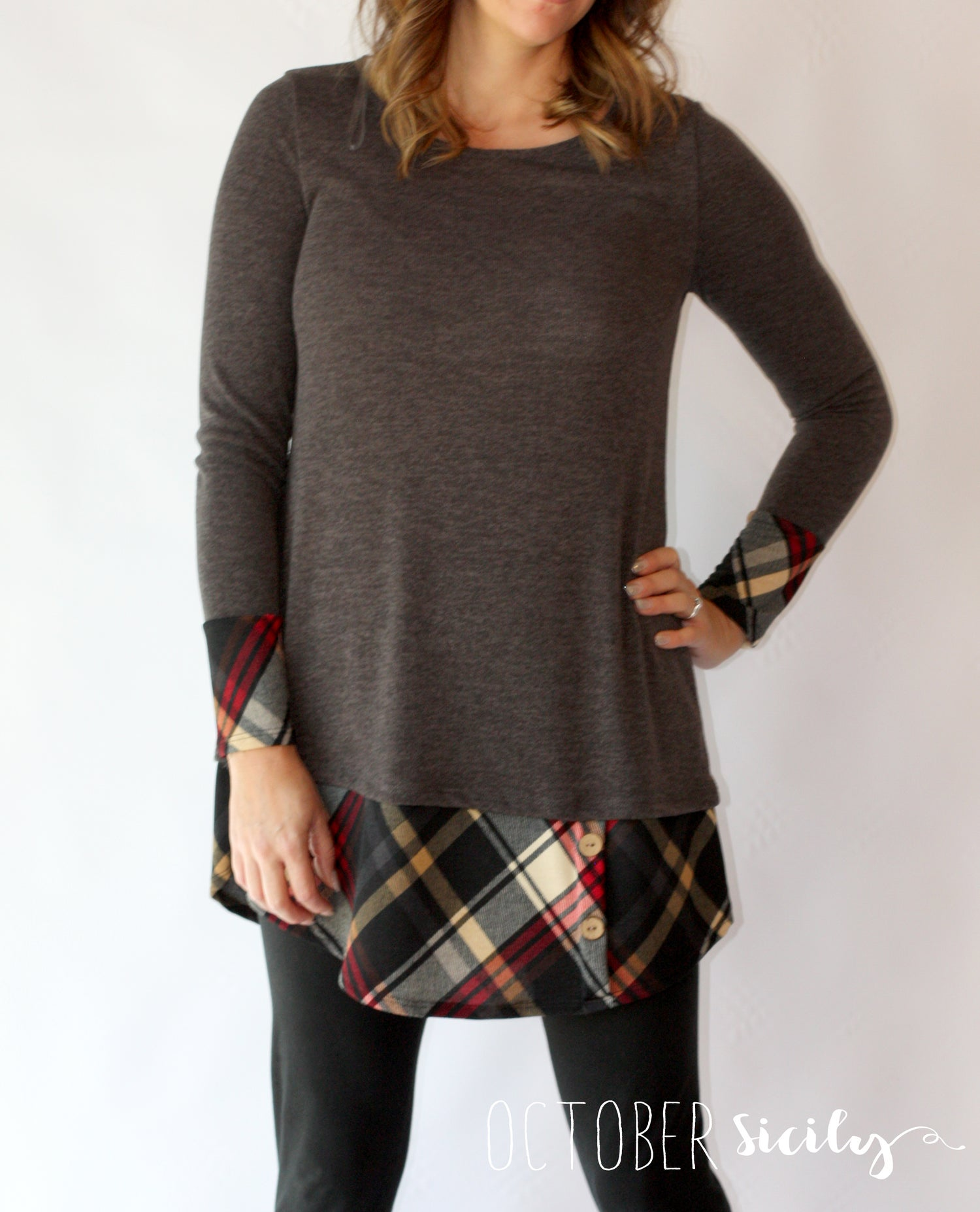 Image of Charcoal Plaid Long Top/Dress