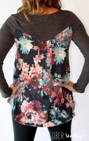Image of Floral Print Knit Tunic Top