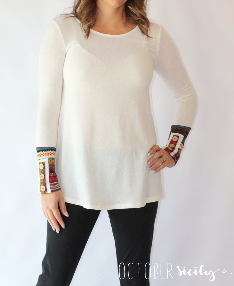 Image of Tribal Print Cuff- Ivory Knit Ttop