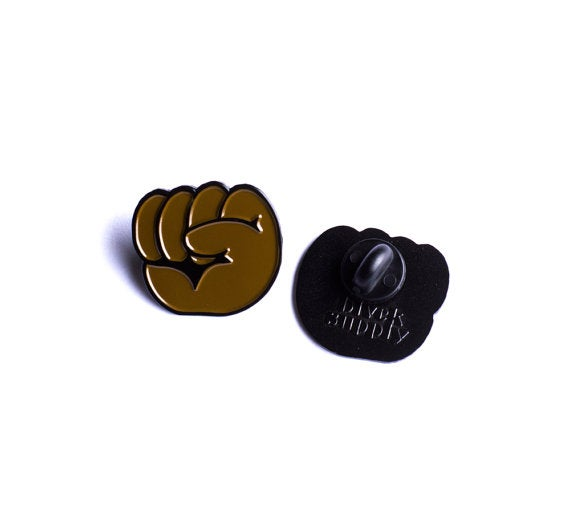 Image of Black Power Emoji Fist Soft Enamel Pin