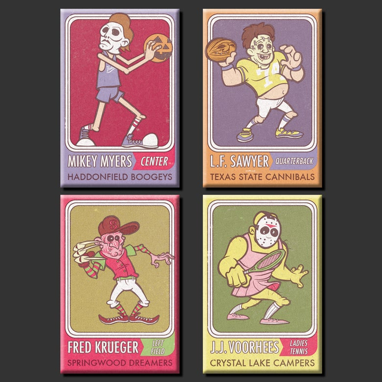 Image of All-Stars Of Horror Metal Fridge Magnet Set