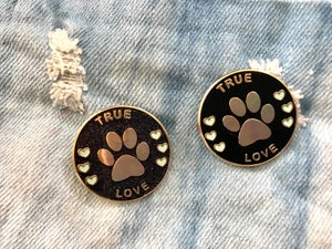 Image of True Love Paw Pin: Black/Black Glitter
