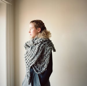 Image of Bloomfield Blanket Lace Wrap of peruvian wool  (shown in black)