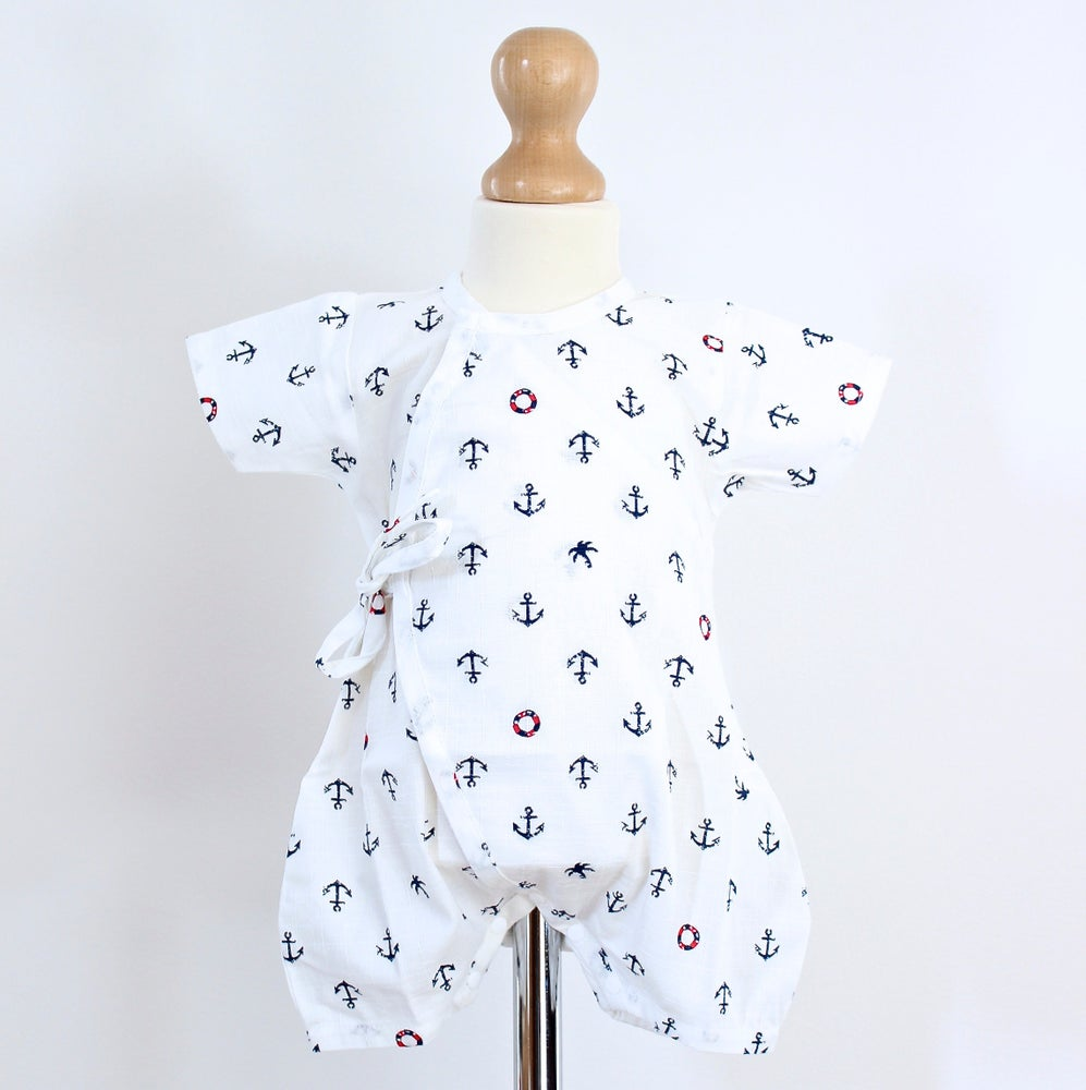 Image of White Marine Baby Grow