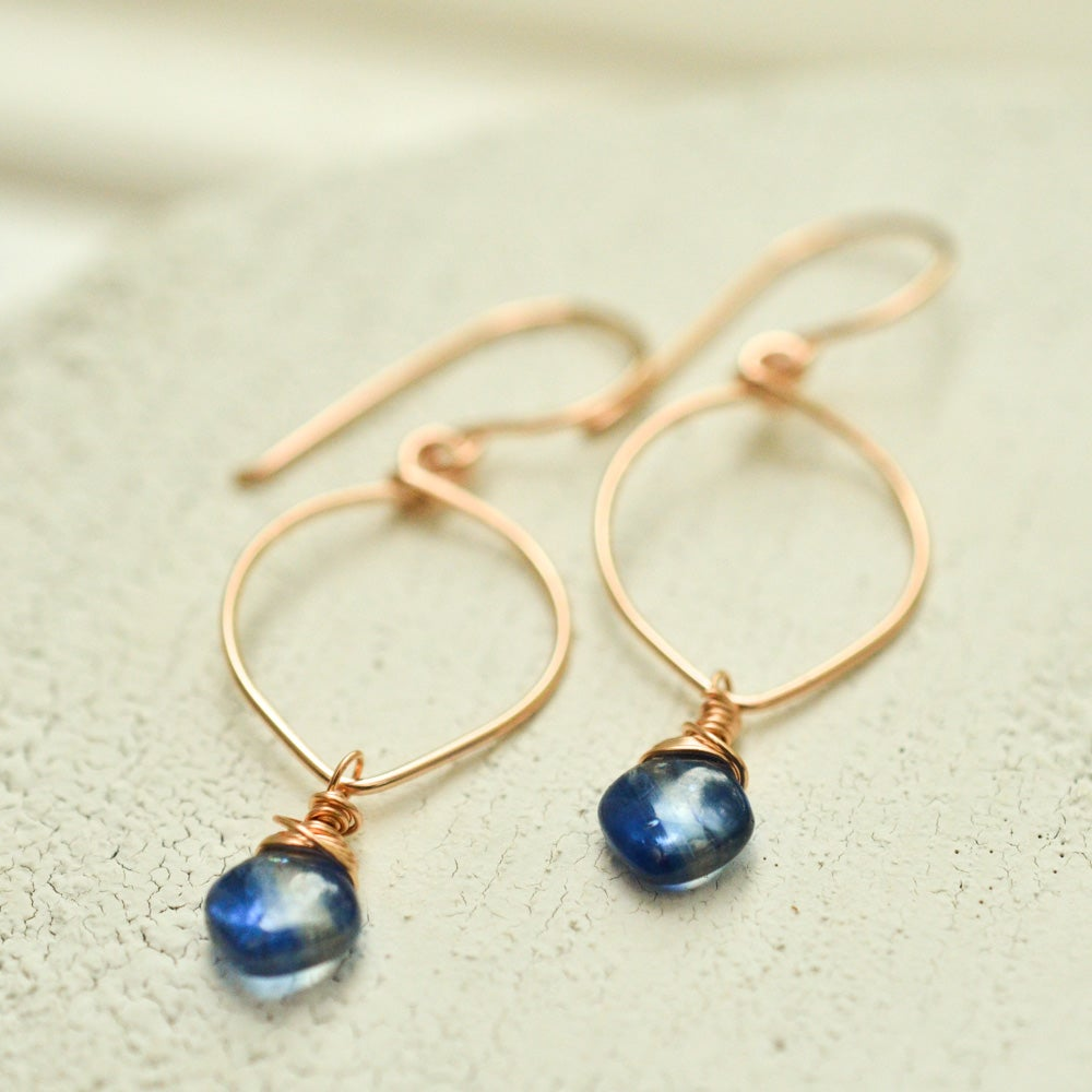 Image of Kyanite earrings lotus loop v2 14kt rose gold-filled