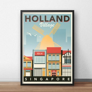 Image of Holland Village Vintage-Style Travel Poster