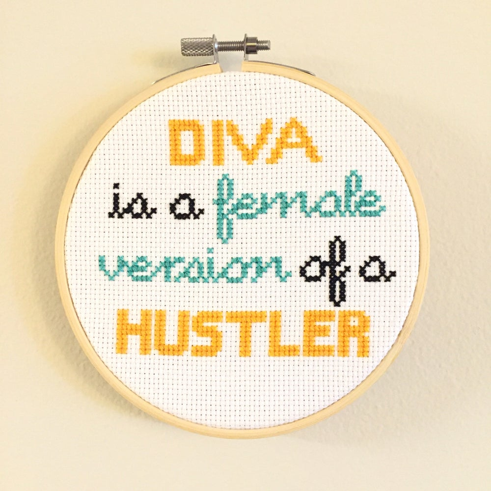 """Image of """"Diva is a Female Version of a Hustler"""" Beyonce Lyrics Cross Stitch Pattern by NewStitchInTown"""