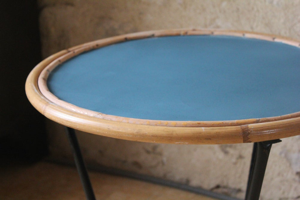 Image of Table basse vintage rotin métal