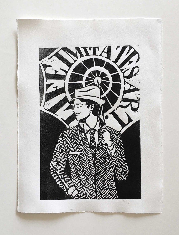 Image of 'Life Imitates Art' Linocut