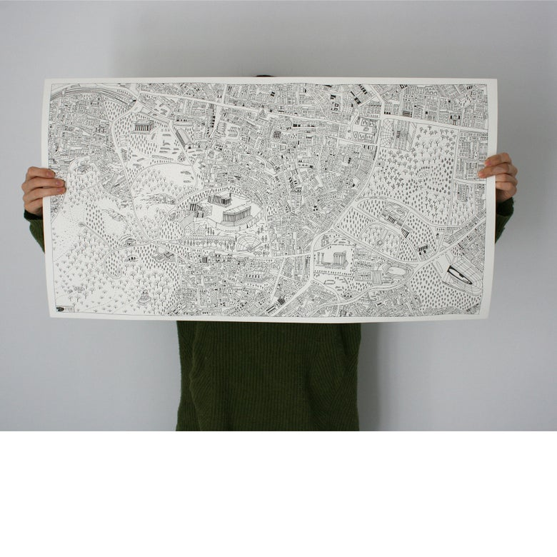 Image of Athens Map Colour in Poster