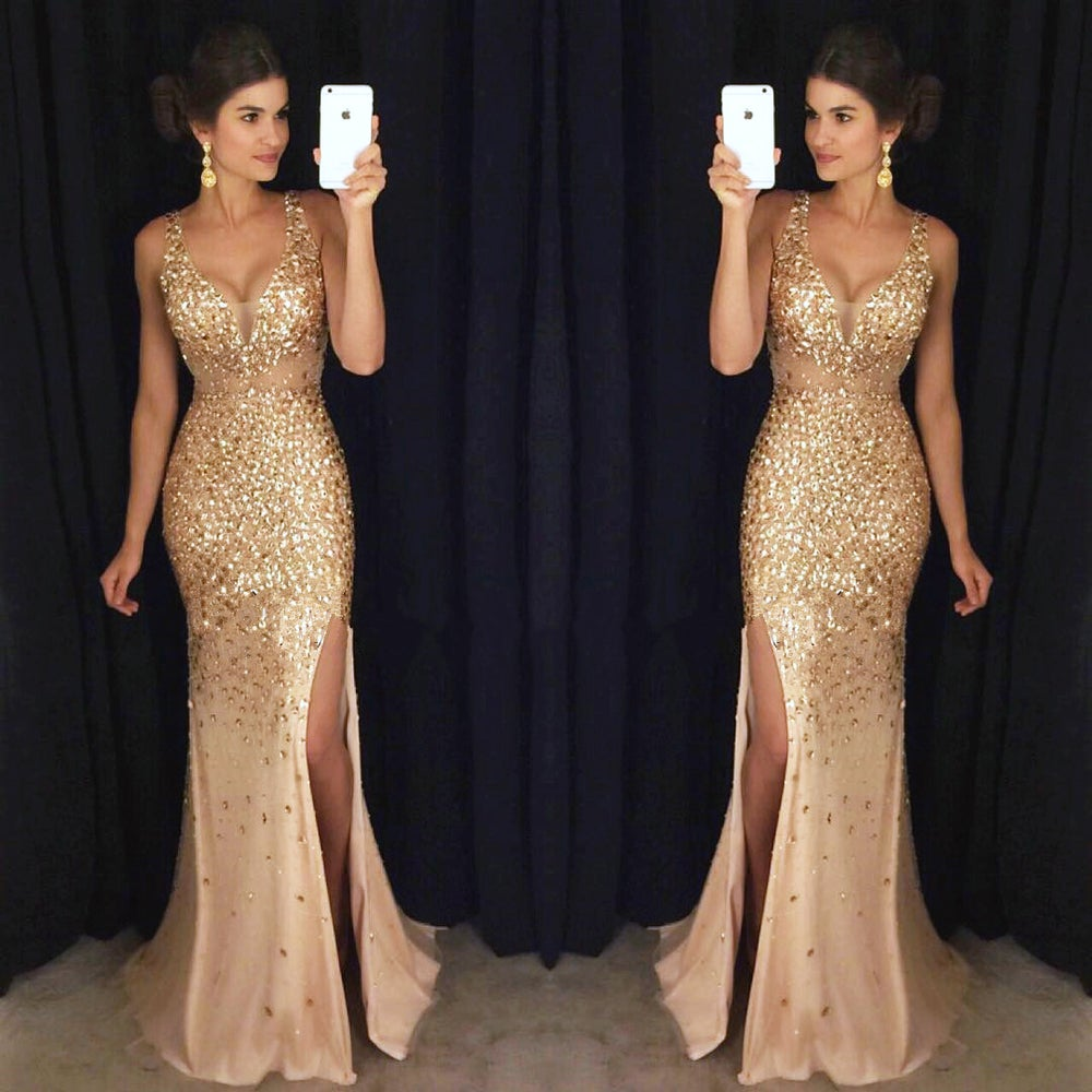 Image of Gorgeous Gold Beaded Illusion Deep V-Neck Long Prom Dress, Gold Crystal Mermaid Slit Evening Gown