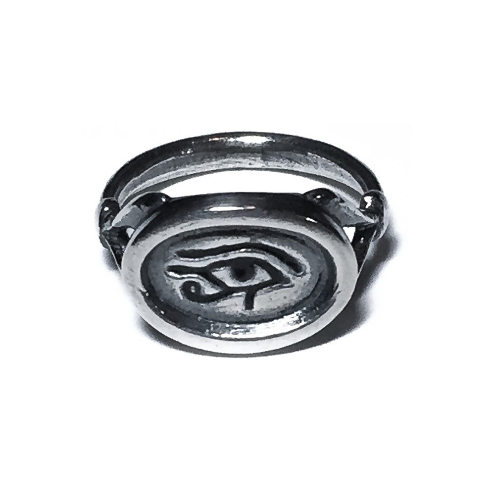 Image of Wedjat Eye ring in sterling silver or 14k gold