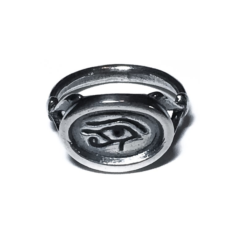 Image of Wedjat Eye ring in sterling silver or 14k gold + enamel