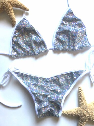 Image of Triangle silver sequin with white scrunch butt