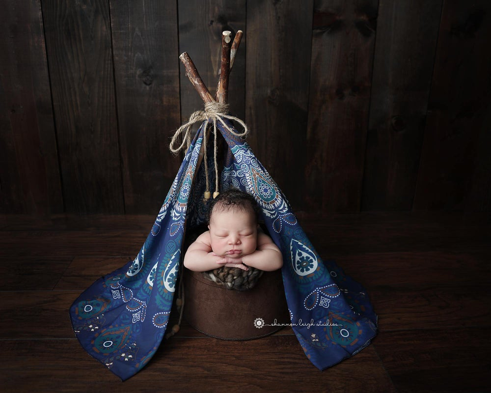 """Image of Blue Bohemian Newborn """"Wonderlust"""" TeePee with Hand Harvested Organic Log Poles from the PNW!"""