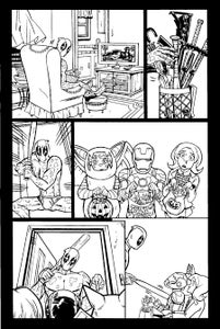 "Image of ORIGINAL ART--DEADPOOL in Gwenpool Holiday Special: Merry Mix Up ""Deadpooloween"" Page 01"